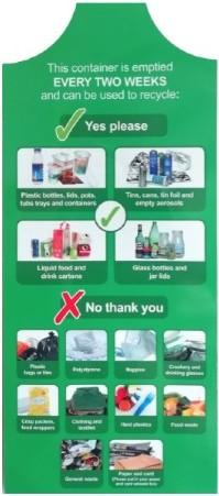 Dry mixed recycling tag for recycling bins when recycling bin is contaminated,